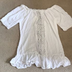 White, Off the shoulder, Swim Cover Up - Large